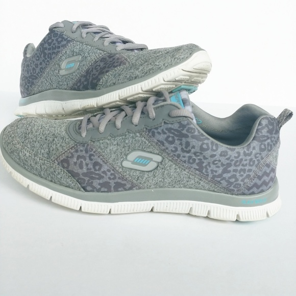 Skechers Flex Appeal Tribeca Charcoal Grey and Turquoise
